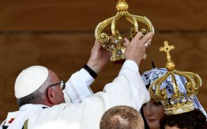 pope-francis-places-crown-virgin-mary-statue-chile-queen-heaven-idol-worship-now-end-begins