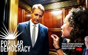 jeff-flake-elevator-ana-maria-archila-leader-george-soros-anti-trump-group-cpd-center-popular-democracy-resist