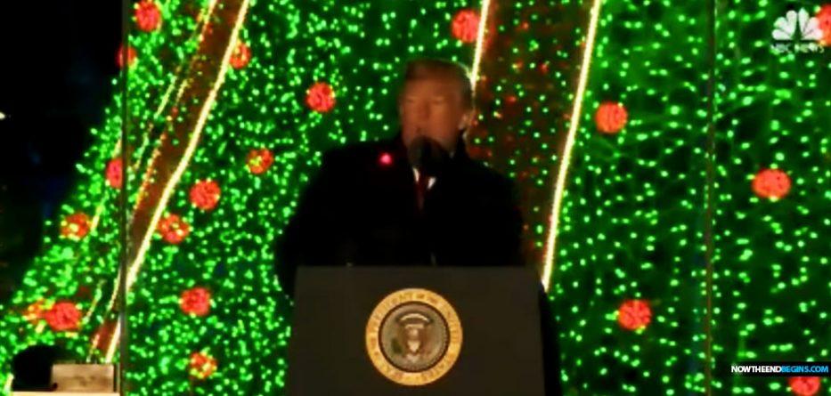 president-trump-christmas-tree-lighting-speech-2018-red-laser-lights-floating-kill-shot