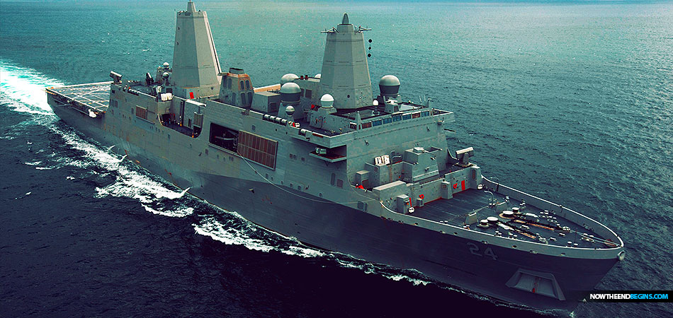 The San Antonio-class amphibious transport dock ship USS Arlington (LPD 24) departs her homeport of Naval Station Norfolk.