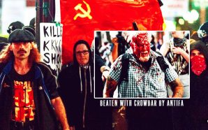 ANTIFA fascists beats man with crowbar