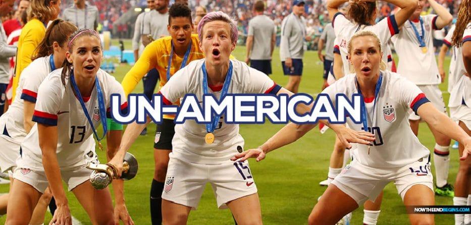 Allie Long, Megan Rapinoe Drop American Flag During World Cup Celebration