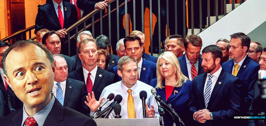 "Dozens of House Republicans stormed a secure hearing room where lawmakers are conducting impeachment proceedings and demanded entry but were denied by ""Democratic leadership,"" they said Wednesday."