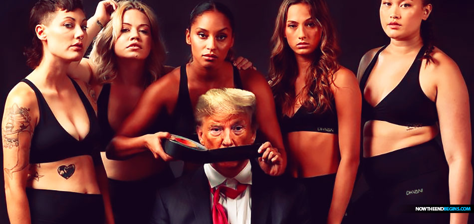 Another image on Dhvani's Twitter feed feature Mr. Trump surrounded by five women while one of his captors holds duct tape in front of his mouth.