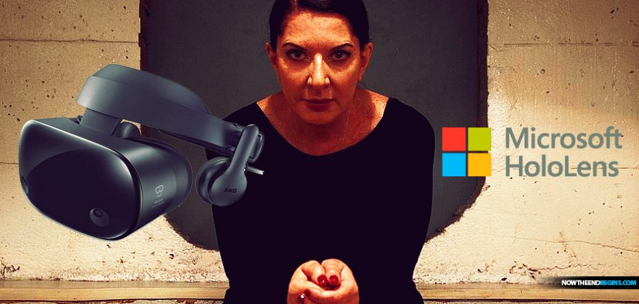 Marina Abramovic. is a wicked woman whose 'performance art' usually revolves around spirit cooking, snakes, pig's blood, images of Baphomet, and all the rest of that garbage. Now Microsoft Hololens wants you to enter mixed reality with her.