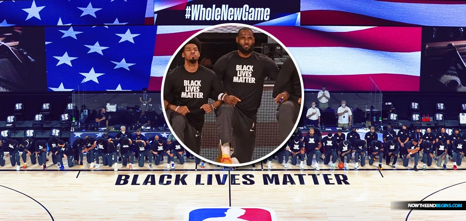 all-players-first-nba-basketball-game-2020-kneel-while-national-anthem-played-black-lives-matter-domestic-terrorists