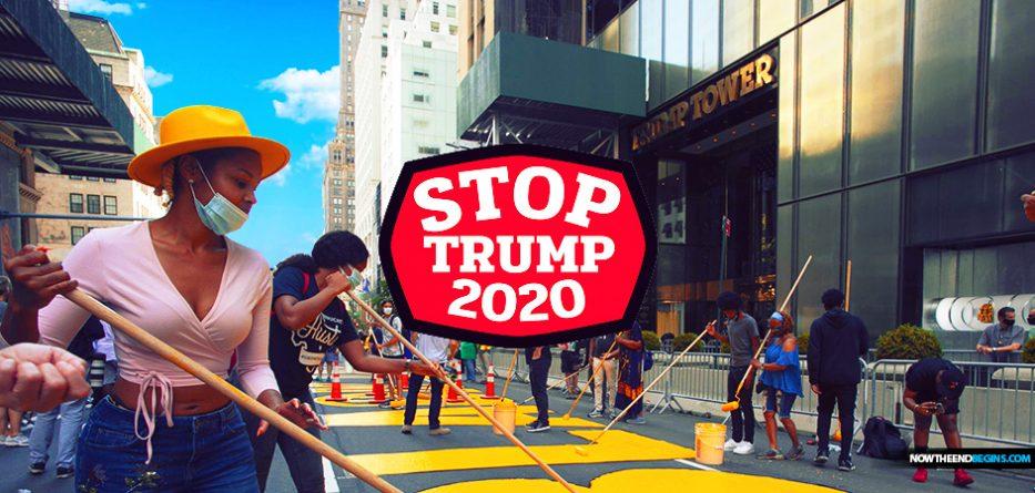 enemies-of-president-donald-trump-tower-black-lives-matter-street-sign-prevent-reelection-november