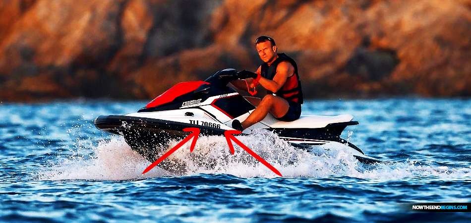 Even While On Holiday On His Jet Ski Man Of Sin Emmanuel Macron Cannot Seem To Get Away From The Number 666 Following Him Around Now The End Begins