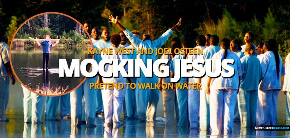 kanye-west-joel-osteen-sunday-service-atlanta-georgia-pretend-to-walk-on-water-laodicean-church-false-teachers-deception