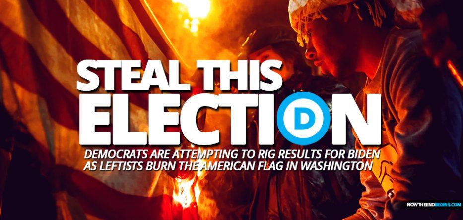 as-antifa-black-lives-matter-burn-american-flag-washington-dc-democrats-trying-to-rig-election-results-vote-counting-for-joe-biden-donald-trump