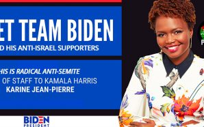 press-secretary-joe-biden-anti-israel-semitic-karine-jean-pierre-chief-of-staff-kamala-harris-free-gaza-palestine-nteb
