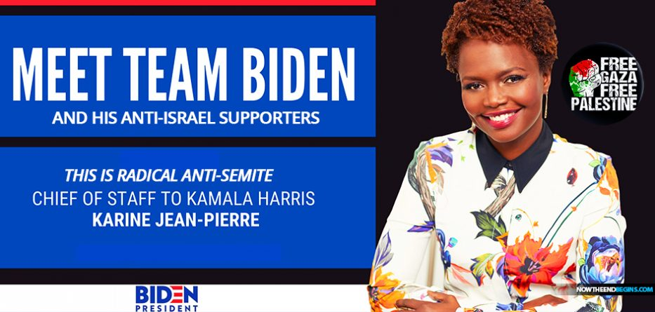 press-secretary-joe-biden-anti-israel-semitic-karine-jean-pierre-chief-of-staff-kamala-harris-free-gaza-palestine-nteb