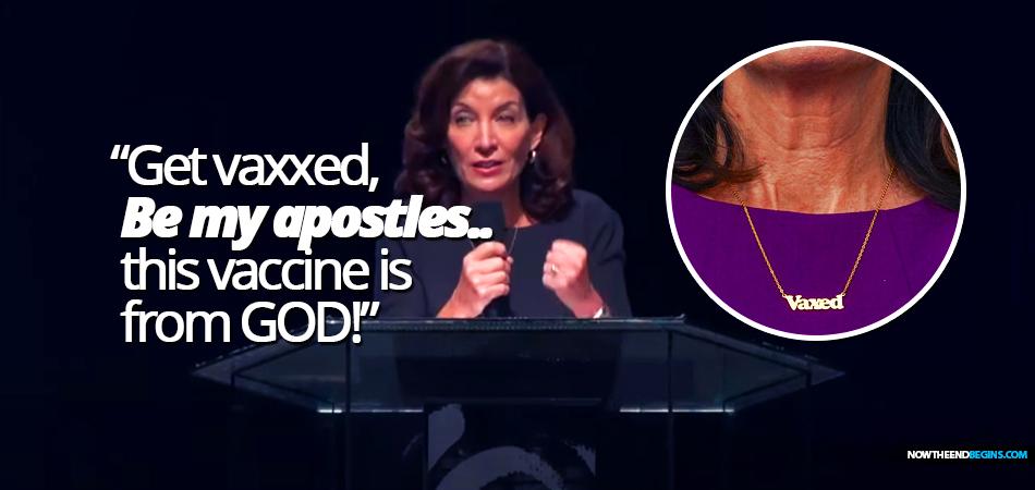 new-york-governor-kathy-hochul-tells-unvaccinated-to-listen-to-god-get-vaccinated-be-my-apostles-vaxxed-necklace-666-covid-19-vaccine-mark-beast